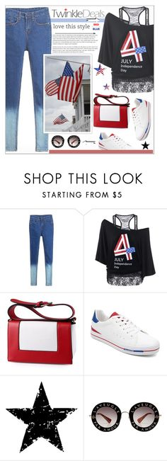 """""""Red, White & Blue: Celebrate the 4th!"""" by alves-nogueira ❤ liked on Polyvore featuring Tim Holtz, Gucci, fourthofjuly, fashiontrend, DenimStyle and twinkledeals"""