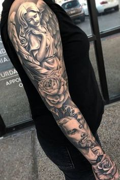 Arm tattoos for guys, face tattoos, god tattoos, body art tattoos, angel ta Jesus Tattoo Sleeve, Religious Tattoo Sleeves, Arm Sleeve Tattoos, Tattoo Sleeve Designs, Chest Tattoo, Forearm Tattoos, Tattoos Arm Mann, Tattoos Skull, Arm Tattoos For Guys