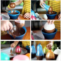Cestinhas de chocolate feita com bexigas. HUUUUM !!