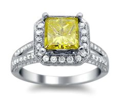 2.20ct Canary Yellow Princess Cut Diamond Engagement Ring 18k White Gold / Front Jewelers