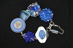 Sapphire!  Bridesmaid Gift, Wedding Bracelet, Vintage Earring Bracelet, Reclaimed, Cluster, Cobalt, Blue, Silver, Jennifer Jones, Coupon,OOAK, Sapphire by JenniferJonesJewelry on Etsy
