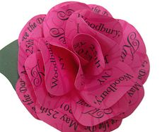 Rose Invitation Save the Date Magnet - Fuchsia Pink Paper Rose -Packaged for Mailing