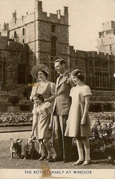 King George VI. of Britain with his family -Queen Elizabeth the Queen Mother, King George VI, Princesses Margaret and Elizabeth: