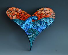Mosaic heart with wave design made with stained glass on a wood surface to hang on your wall. Mosaic Crafts, Mosaic Art, Mosaic Tiles, Stone Mosaic, Mosaic Glass, Stained Glass, Aqua Blue Color, Mosaic Crosses, Wave Design