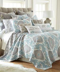 Another great find on #zulily! White, Gray & Blue Kim Quilt Set #zulilyfinds