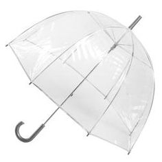 I like and use clear umbrellas because they :  1) provide great coverage  2) Can be held close to the head without blocking the line of sight  3) Are made of plastic so they repel water well.
