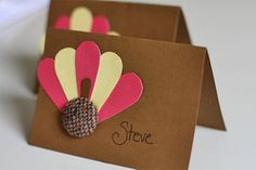 thanksgiving diy decoration ideas | Ooh! These are cute turkey table cards , too! Just use some scrapbook ...