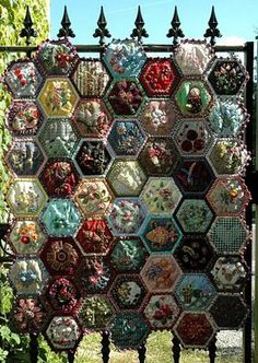 Bee Quilt ~ I am so in love with this! 52 hexagons - 1 each week. All different materials and techniqes.