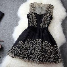 6e82e5c4d33 Fashion Flower Strap Embroidered Lace Dress MPz