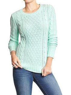 Womens Cable-Knit Sweaters   Color: Reach for the Sky= $17.97; Polar Bear= $14.97