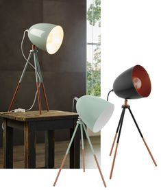 Mint or black both with copper detailing. We love the retro styling of these, they would work well on the floor as well as the table. Tripod Table Lamp, Desk Lamp, Retro Table Lamps, Mint Blue, Ceiling Lighting, Retro Color, Floor Lamp, Copper, Colours