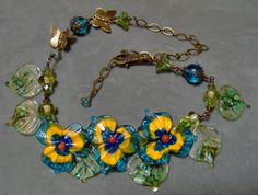 Lampwork Floral and Leaved Necklace  Artisan by klassyjoolz