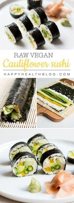 Cauliflower raw vegan sushi - main dishes, nutfree recipes, plantcrush - Photo: Natalie Yonan
