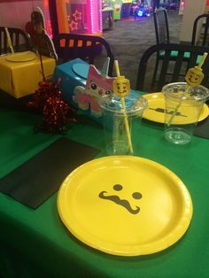 Place setting at a Lego birthday party! See more party ideas at CatchMyParty.com!