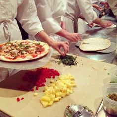 Chef Garry Teaching the Students how to make pizza in his food production class!