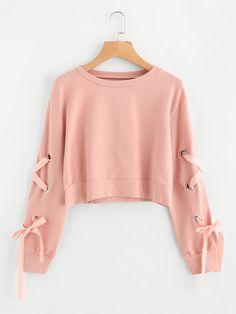 Sweatshirts by BORNTOWEAR. Eyelet Lace Up Sleeve Crop Sweatshirt
