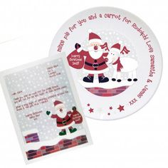 This fabulous Rooftop Santa & Rudolph Mince Pie Plate and Letter is a unique way of leaving Santa a treat this Christmas! Personalise the plate with a short message up to 24 characters e. Mince Pies, Pie Plate, Rooftop, Best Gifts, Santa, Plates, Messages, Lettering, Personalized Items
