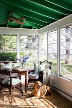 Love this porch, green ceiling and reusing the windows from the house. Enclosed Porches, Screened In Porch, Front Porch, Outdoor Rooms, Outdoor Living, Louvre Windows, Porch Windows, Crank Windows, House With Porch