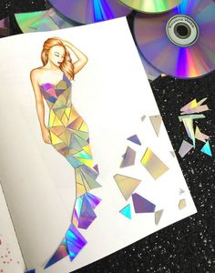 Fashion Drawing Making a dress out of broken CD/DVD's in my new book 'Color Me. - Making a dress out of broken CD/DVD's in my new book 'Color Me Creative' Fashion Design Sketchbook, Fashion Design Drawings, Fashion Sketches, Fashion Portfolio Layout, Portfolio Book, Art Drawings Sketches, Cool Drawings, Illustration Mode, Illustrations