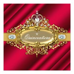 Elite Quinceanera Rich Red Gold Damask 15th Party