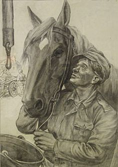 Lindeberg - Aseveli-hevonen / Brother in arms horse - Drawing made in 1939 by unknown soldier during the Winter War - Finland - Finnish horse Night Shadow, Unknown Soldier, Work With Animals, Horse Print, Military Art, Berg, Finland, Wwii, Lion Sculpture