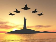 Five Military Jets Fly over Lady Liberty : Custom Wall Decals, Wall Decal Art, and Wall Decal Murals | WallMonkeys.com