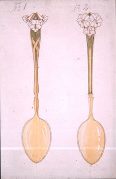 Gustav Gaudernack. Design of coffee spoons, gilt silver with  enamel flowers