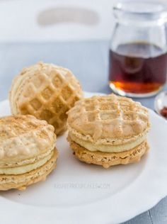 waffle macarons with maple bacon buttercream.