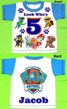 Paw Patrol T-shirt Personalized 12MONTHS,18MONTHS 2T,3T,4T,5T,6TPersonalization is included at no additional cost. by FantasyKidsDesigns on Etsy