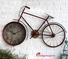 Dev Boyutlu Retro Bisiklet Duvar Saati
