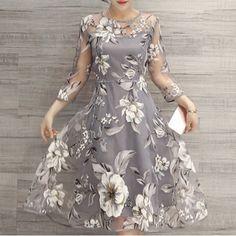 LIGHT GRAY Flower Print Midi Organza Dress 2XL