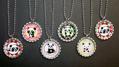Qty 6 Panda Party Favor Bottlecap Necklace Goody Bags for Kids Party Favors, Kids Birthday, Pandas Parties, Birthday Parties, 11Th Birthday, Parties Favors, Parties Ideas, Girls Parties, Pandas Theme