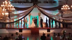 The Gala Event - Chambersburg, PA - Our creative team has designed this unique draping arrangement. Contact us today for custom draping for your wedding or party!  #thegalaevent #mintwedding