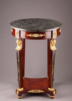 Guéridon de style Empire en placage acajou et monture en bronze doré 1135 : Antiquités et Objets d'Art