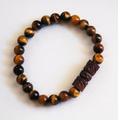 Men's Bracelets - Men's Jewelry - Men's Tiger Eye and Curved Wood Bead  Bracelets- Beaded bracelet- Unisex bracelets- -