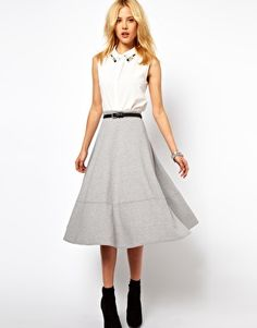 Image 1 of ASOS Midi Skirt In Ponte light gray / grey