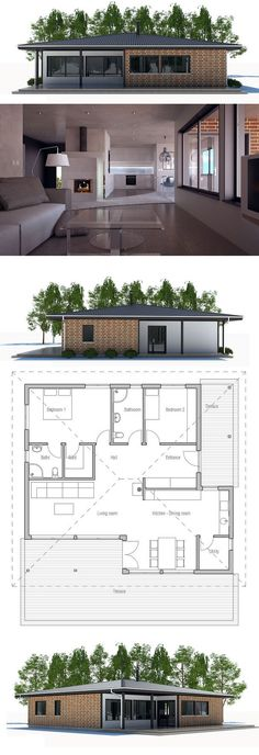 Small House Plan with two bedrooms. Open planning, big windows, covered terrace. Small home design to tiny lot. Floor Plan from ConceptHome.com