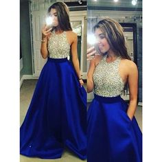 On Sale Cute Prom Dresses Backless Halter Neck Beaded Long Satin Prom Dress-Royal Blue Backless Evening Prom Dress Cute Evening Dress, Evening Dress Blue, Evening Dress Backless, Prom Dresses Prom Dresses 2019 Royal Blue Prom Dresses, Prom Dresses 2017, Backless Prom Dresses, A Line Prom Dresses, Cheap Prom Dresses, Quinceanera Dresses, Dance Dresses, Formal Dresses, Homecoming Dresses Long