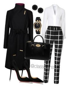 """ Untitle Black & White "" Outfit and on Polyvore featuring polyvore fashion style Lipsy Ted Baker Christian Louboutin Mulberry Versace Anne Klein."