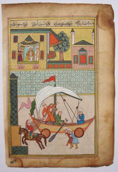 persian ottoman Miniature Painting  Drawing  Islamic Boat Making AntiqueTurkish  in Art, Direct from the Artist, Drawings | eBay