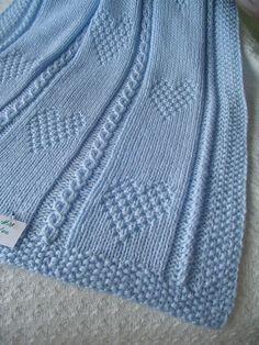 Baby Blanket 13 Blue Baby Blanket Hand Knit Baby di Ednascloset