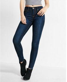 c158515b82bf99 Express mid rise dark wash stretch jean leggings