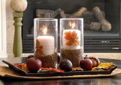 Candles with seeds and fall leaves, acorns.  DSCN5880