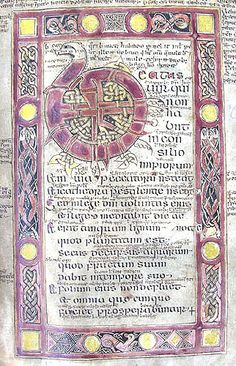 An ornate initial B, bearing a beast's head, at the opening of Psalm 1, surrounded by a border of interlacing motifs. From f.2r of MS C.9. Irish Psalter, 10th-11th century.  © The Master and Fellows of St John's College Cambridge