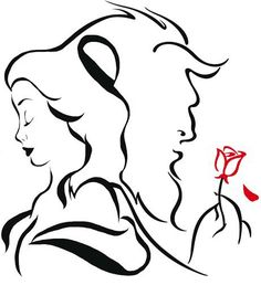 Beauty and the beast tattoo idea ❤ beauty and the beast drawing, disney tattoos Beauty And The Beast Silhouette, Beauty And The Beast Tattoo, Disney Beauty And The Beast, Beauty Beast, Disney Kunst, Disney Art, Disney Drawings, Art Drawings, Drawing Disney