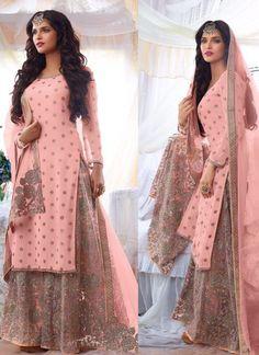 punjabi suits online DESIGNER PINK PAKISTANI EMBROIDERED WEDDING WEAR GEORGETTE #SHARARA SUIT