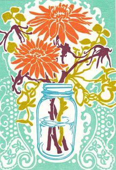 Mason Jar Flowers - Letterpress Print.