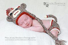 Newborn Sock Monkey Hat and Diaper Cover by MadhatterknitsCo