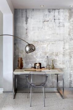 Weathered Concrete Wall Create a trendy industrial interior with Weathered Concrete Wall Wallpaper. Deco Design, Wall Design, Industrial Interiors, Design Industrial, Modern Industrial, Vintage Industrial, Plaster Walls, Wall Wallpaper, Metallic Wallpaper