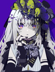 Anime picture with original mochizuki kei long hair single tall image looking at viewer fringe simple background purple eyes hair between eyes silver hair parted lips upper body nail polish tattoo fingernails lolita fashion purple background girl bow Anime Girl Cute, Beautiful Anime Girl, Kawaii Anime Girl, Anime Art Girl, Manga Girl, Anime Girls, Anime Style, Avatar Foto, Character Inspiration
